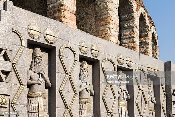 Decorations for the opera 'Nabucco' are standing outside the ruins of Verona Arena