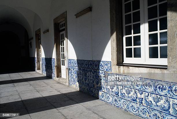 Decorations in azulejo tiles in the cloister of the Madre de Deus Convent home to the Museum of Azulejos Lisbon Historical Province of Extremadura...