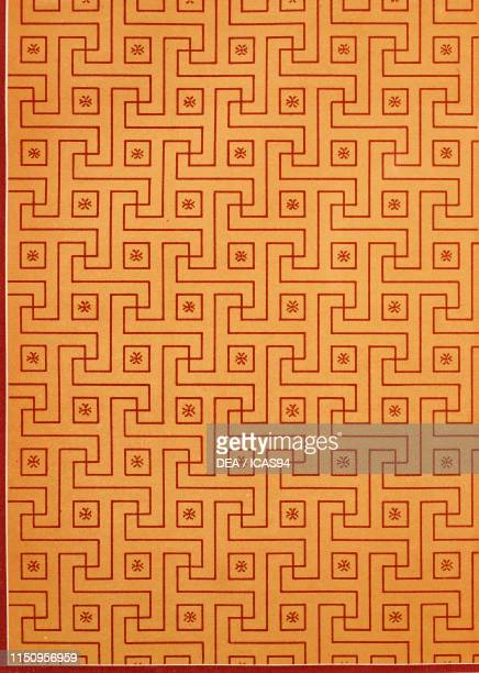 Decorations of red geometric lines and shapes on yellow background House no 18 Regio VIII Insula 2 Pompeii Campania Italy chromolithograph by D Capri...