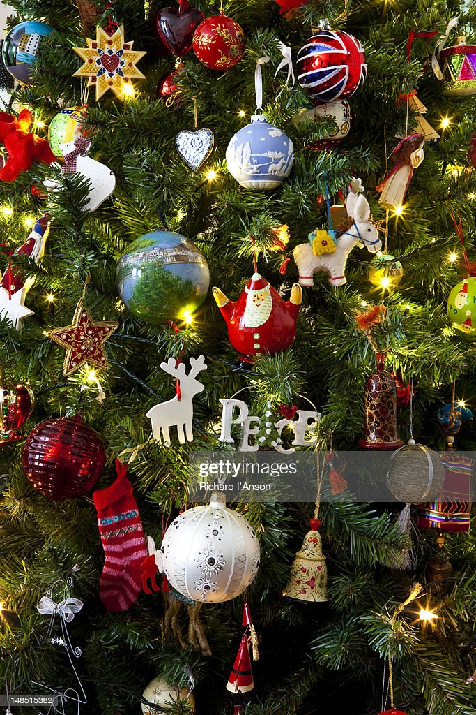 Decorations on Christmas tree. : Stock Photo
