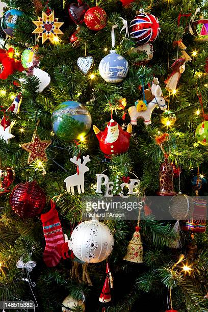 Decorations on Christmas tree.