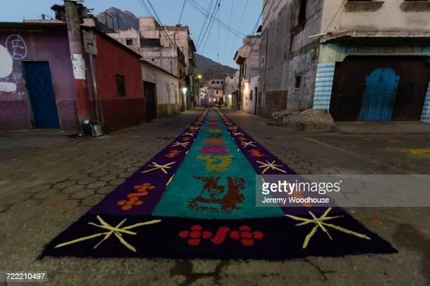 decorations on street at night, antigua, sacatepequez, guatemala - streetart stock-fotos und bilder