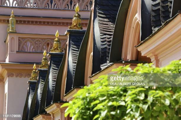 Decorations on the mosque porch detail garden of Schwetzingen Castle BadenWurttemberg Germany