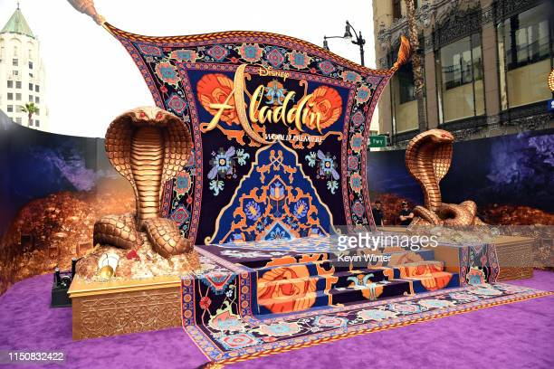 Decorations on the red carpet are seen before the premiere of Disney's Aladdin at El Capitan Theatre on May 21 2019 in Los Angeles California