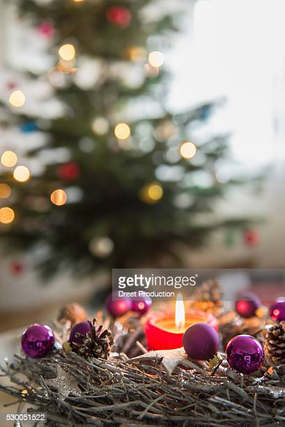 Decorative advent wreath with burning candle in front of Christmas tree, Bavaria, Germany