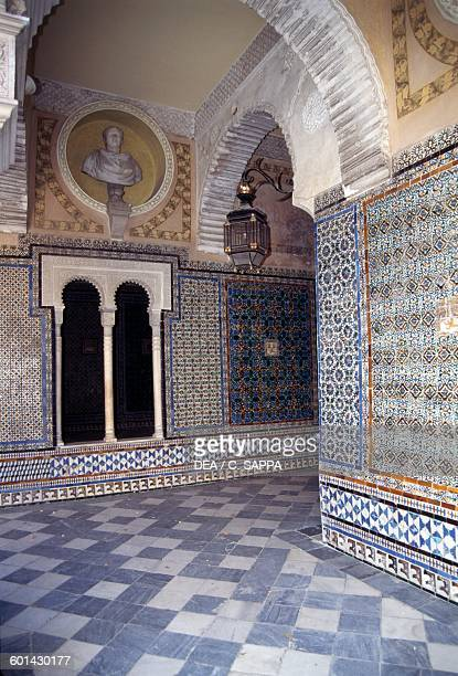 Decorative azulejos on the patio of Casa de Pilatos Seville Andalusia Spain 15th16th century
