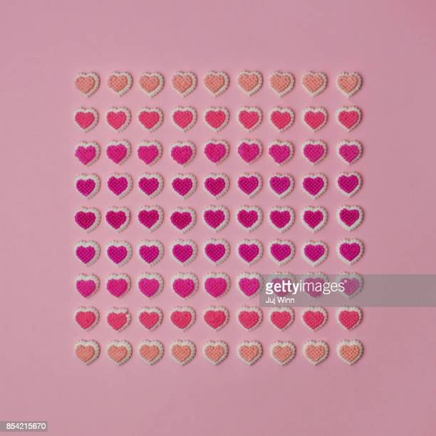 Decorative Candy Hearts in Grid Formation