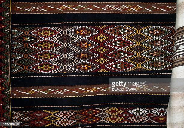 Decorative carpet handcrafted in Ghardaia M'zab Valley Algeria Detail