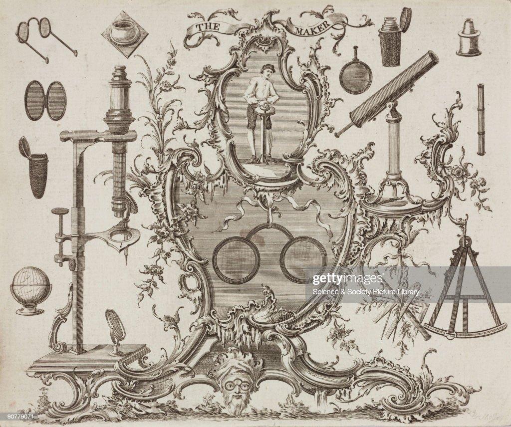 Trade card of James Ayscough, optician, c 1750. : News Photo