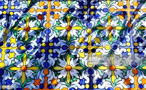 Decorative ceramics in bench in Plaza de Espana in Seville
