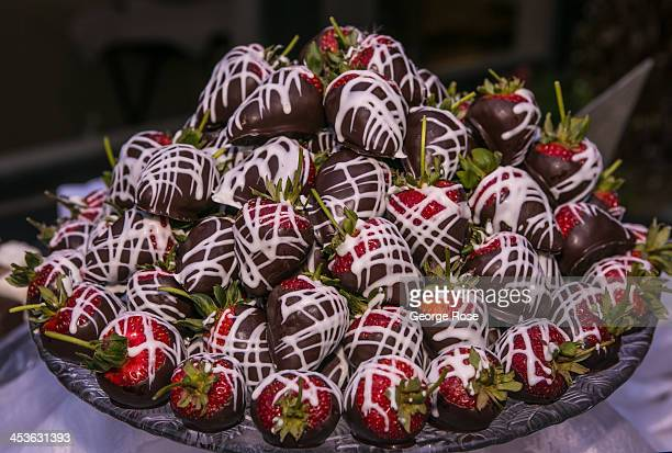 Decorative chocolate covered strawberries are staged for a party taking place near the Mendocino Coast Botanical Gardens on September 6 in Fort Bragg...
