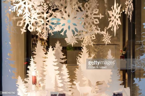 Decorative Christmas Display on Shop Window - Christmas Shopping
