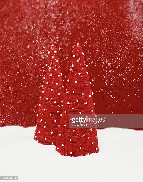Decorative Christmas Trees and Snow