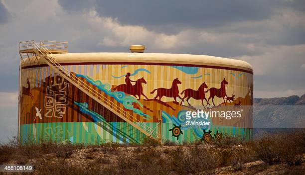 decorative city water tank at las cruces, new mexico - las cruces new mexico stock pictures, royalty-free photos & images