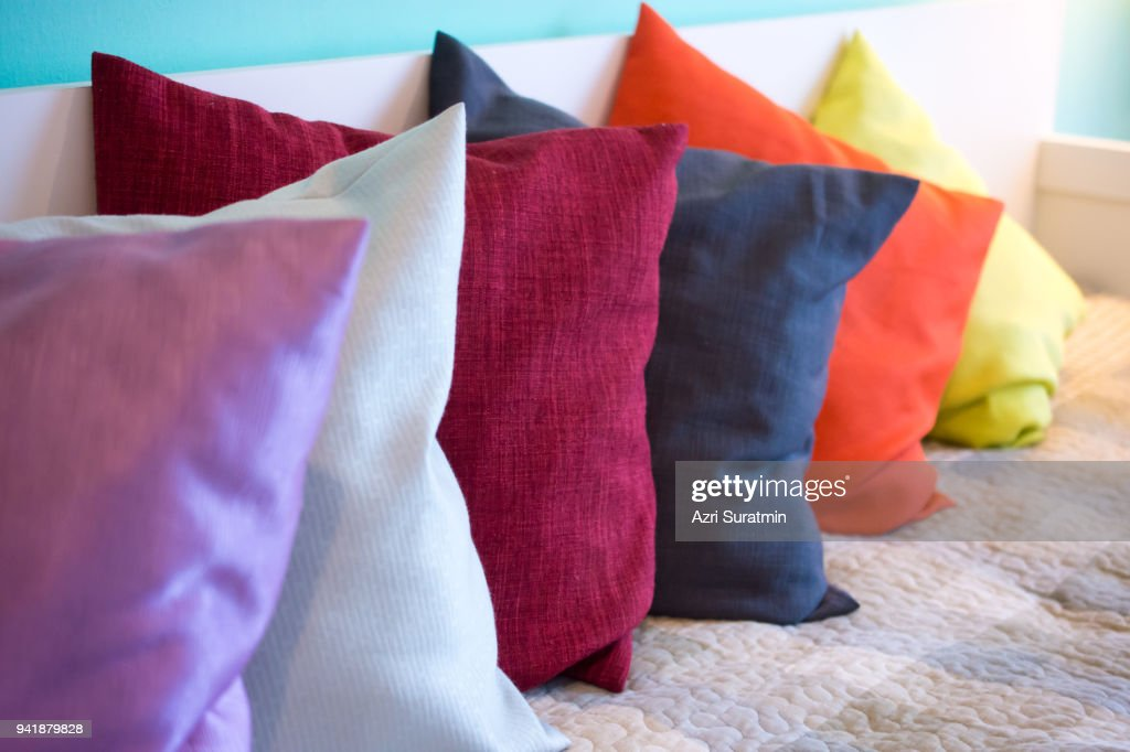 Decorative comfortable pillow natural Fabric, with multi-colored pillows : Stock Photo