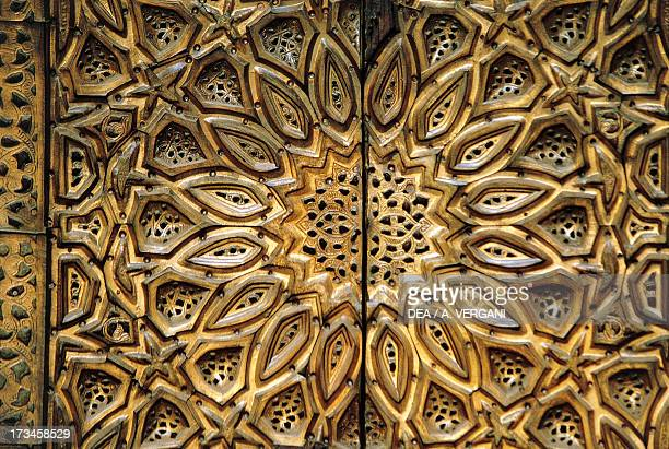 Decorative detail from an entrance MosqueMadrassa of Sultan Hassan Cairo Egypt