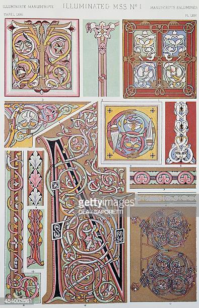 Decorative detail from illuminated manuscript Plate LXXI from The Grammar of Ornament by Owen Jones London 1856 United Kingdom 19th century Milano...