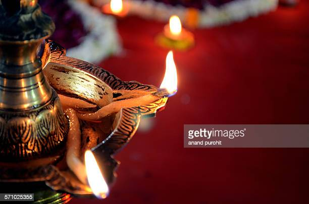 Decorative Diya on Diwali Festival, India