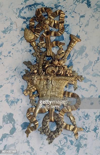 Decorative element in gilded wood Music room Chateau de Ravel Auvergne France