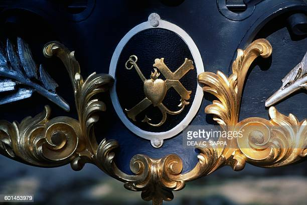 Decorative element on a 19th century hearse in the courtyard of Bojnice castle Slovakia 12th19th century
