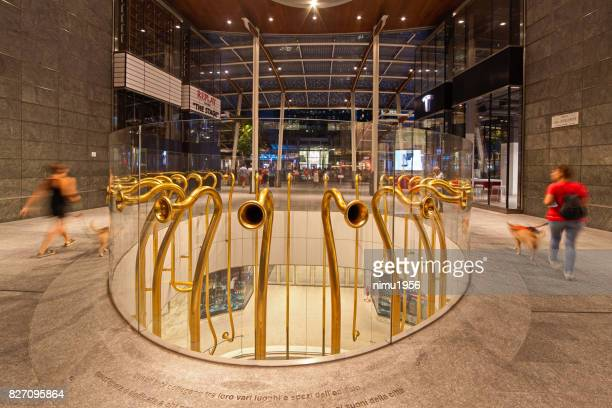 decorative elements in gae aulenti square, milan-italy - striato stock pictures, royalty-free photos & images