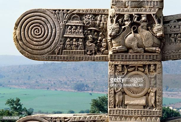 Decorative elements of the West Gate of the Great Stupa Sanchi Madhya Pradesh India 1st century BC