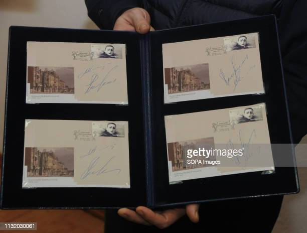 Decorative envelope with a postage stamp depicting Alexander Vertinsky seen at an exhibition during the opening A monument to the entertainer film...