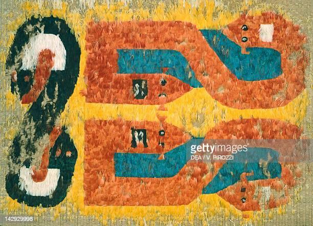 Decorative feather mat with symbolic motifs form Brazil PreColombian Civilization Rome Museo Preistorico Etnografico Pigorini