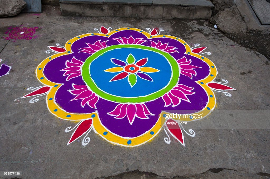 HYDERABAD, INDIA - JANUARY 12,2017 Decorative floral patterns known as Rangoli outside a home on Pongal festival in Hyderabad : Stock Photo