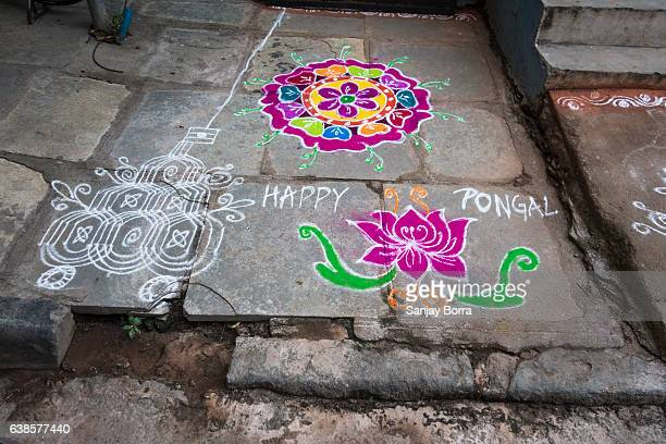 HYDERABAD, INDIA - JANUARY 12,2017 Decorative floral patterns known as Rangoli outside a home on Pongal festival in Hyderabad