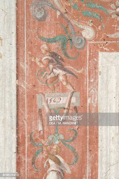 Decorative frame element fresco on the vault of entrance hall by Andrea Tibaldi Landriano Castle belonged to the Taverna family Lombardy Italy 17th...