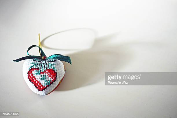 Decorative heart, cross-stitched