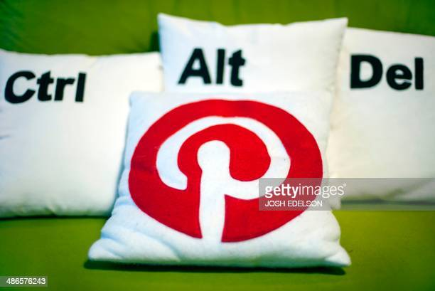 Decorative pillows set the scene at a Pinterest media event at the company's corporate headquarters office in San Francisco California on April 24...