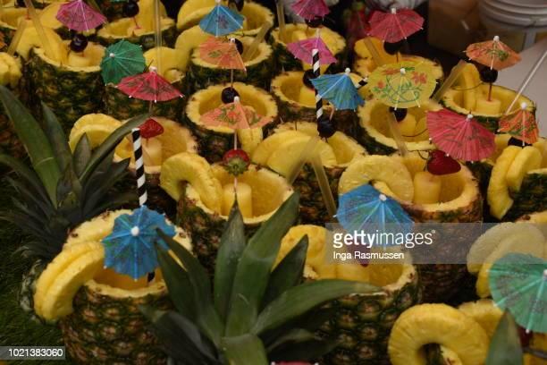 Decorative pineapples at Portobello Road Market, London, UK