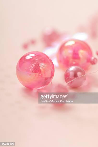 Decorative pink beads, close-up