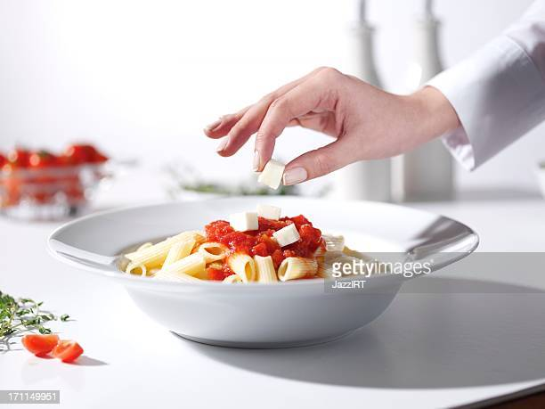 Decorative plate of pasta