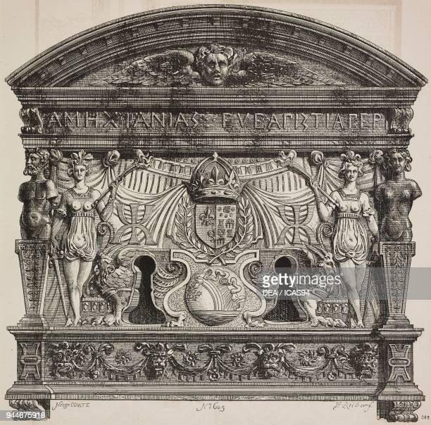 Decorative plate with double keyhole with the initials of Catherine de Medici 16th century Anet Castle France engraving from L'Art pour Tous...