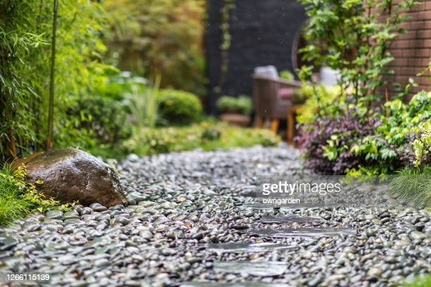 decorative sprinkling of flowerbed paths with pebbles - vegetable garden stock pictures, royalty-free photos & images
