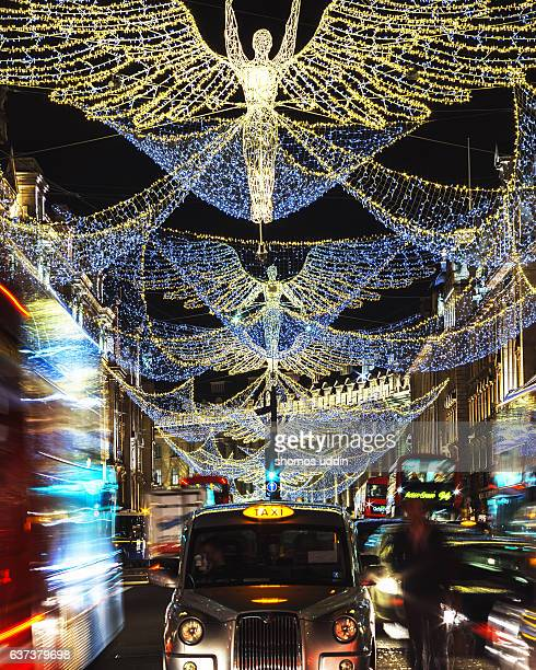 decorative street of london at night - west end london stock photos and pictures