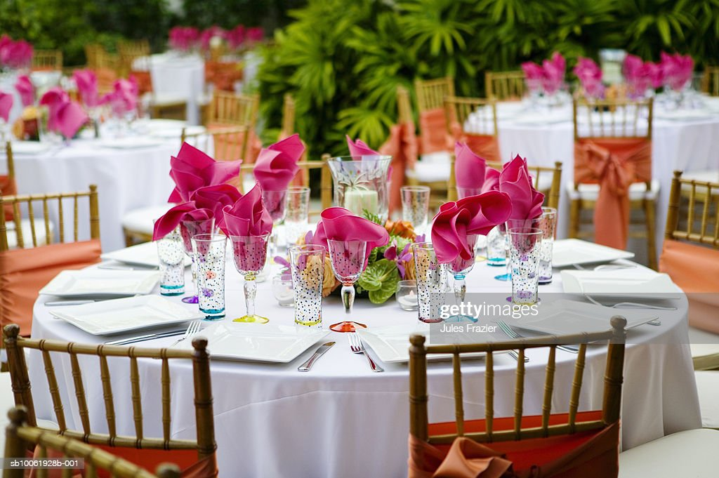 Decorative table settings in garden : Stock Photo