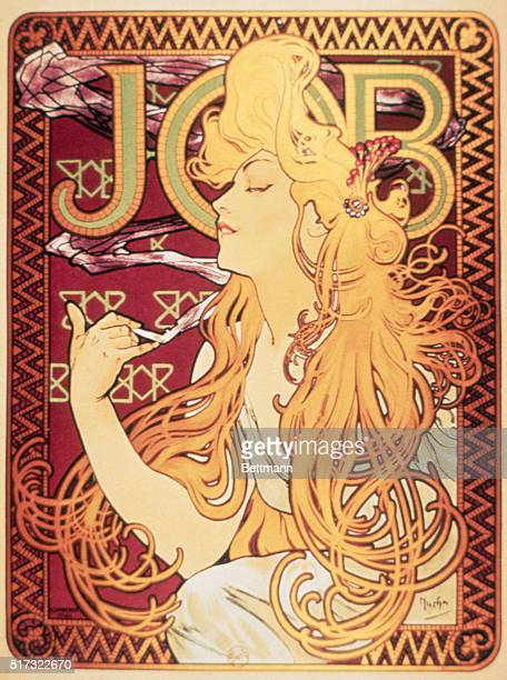 Decorative tendrils of hair swirl about the shoulders of a woman as she slips into reverie while she smokes a cigarette in this Art Nouveau style...