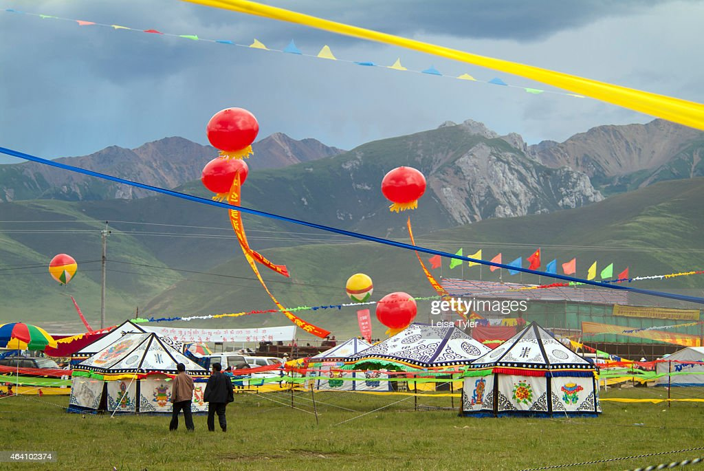 Decorative Tibetan tents at the Yushu Horse Racing Festival in Qinghai Province. Otherwise known as & Decorative Tibetan tents at the Yushu Horse Racing Festival ...