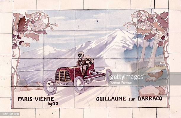 Decorative tile of famous racing car of the time which used Michelin tyres From the facade of Michelin House England 20th century 1911 81 Fulham Road...