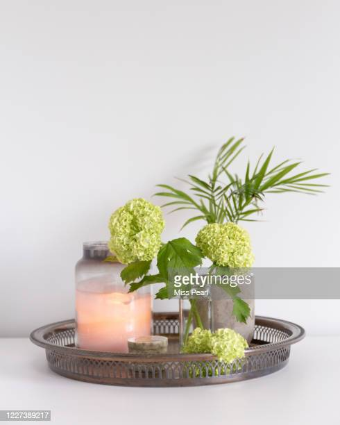 decorative tray with candle, house plant and trinkets - candle stock pictures, royalty-free photos & images