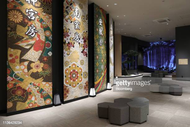 Decorative walls are seen in a lounge inside the Solaniwa Onsen spa at Osaka Bay Tower during a media tour in Osaka, Japan, on Thursday, Feb. 21,...
