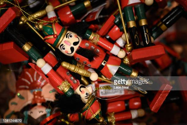 Decorative wooden soldiers are seen among some of the festive items in the Christmas gift and decoration section in the branch of retailer Marks and...