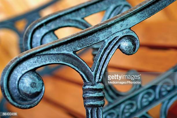 Decorative wrought iron railing on gate
