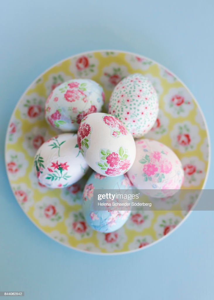 Decoupage Easter Eggs On Small Floral Plate : Stock Photo