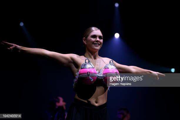 'Decoys for the Buoys' by Anna Grapes of New Zealand is modelled in the Bizarre Bra Section during the World of WearableArt Awards 2018 at TSB Bank...