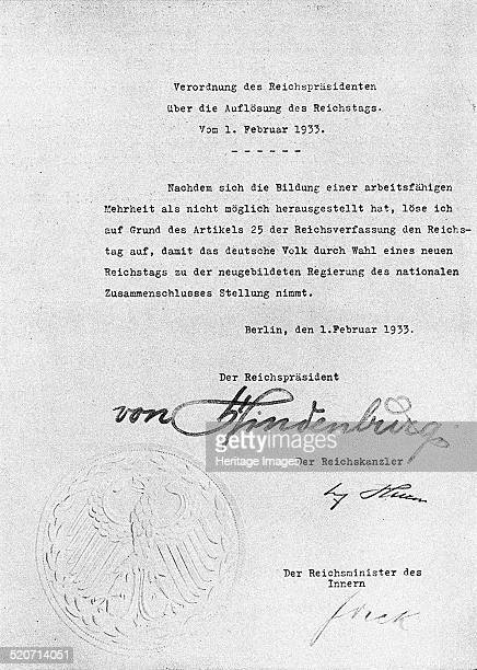 Decree from Hindenburg ordering dissolution of the Reichstag from 1 February 1933 Found in the collection of Russian State Film and Photo Archive...